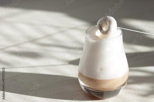 Milk foam maker. Mini blender, frothers for coffee, latte © vittaliya