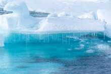 North Of Svalbard, The Pack Ice. The Pack Ice When It Melts Creates Many Icicles.