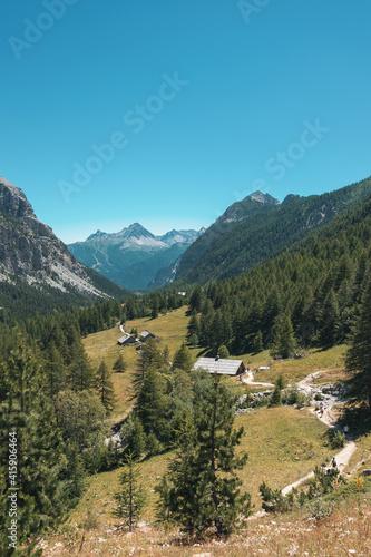 Slika na platnu splendid panorama of Val di Susa. road to reach the green lake