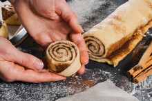 Cooking Handmade Buns With Cinnamon