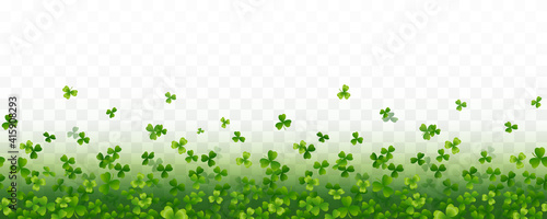 Obraz Shamrock flying leaves seamless border isolated on transparent background. Green irish symbols Good Luck banner. Vector clover pattern for Saint Patrick's Day holiday greeting card design - fototapety do salonu