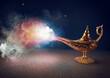 Leinwandbild Motiv Smoke exists from magic aladdin genie lamp in a desert