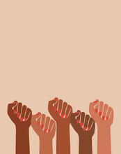 Female Black Fist Raised Feminist Power Art, Retro Graphic Design, Female Pride, Person Of Color,  Female Empowerment, African American Hands, Strong Women, Modern Girl Power Artwork Illustration