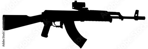 Billede på lærred Assault rifle silhouette in black on white background