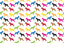 Scottish Terrier Dogs Colorful Silhouettes Textile Seamless Background Vector Web Image Graphic Clip Art Illustration