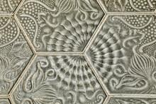 Spain, Barcelona. Sidewalk Tile Detail.