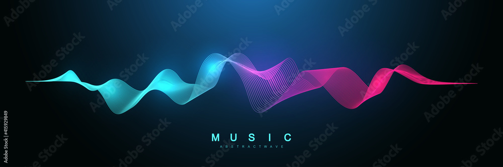 Fototapeta Music abstract background. Music wave poster design. Sound flyer with abstract gradient line waves, vector concept