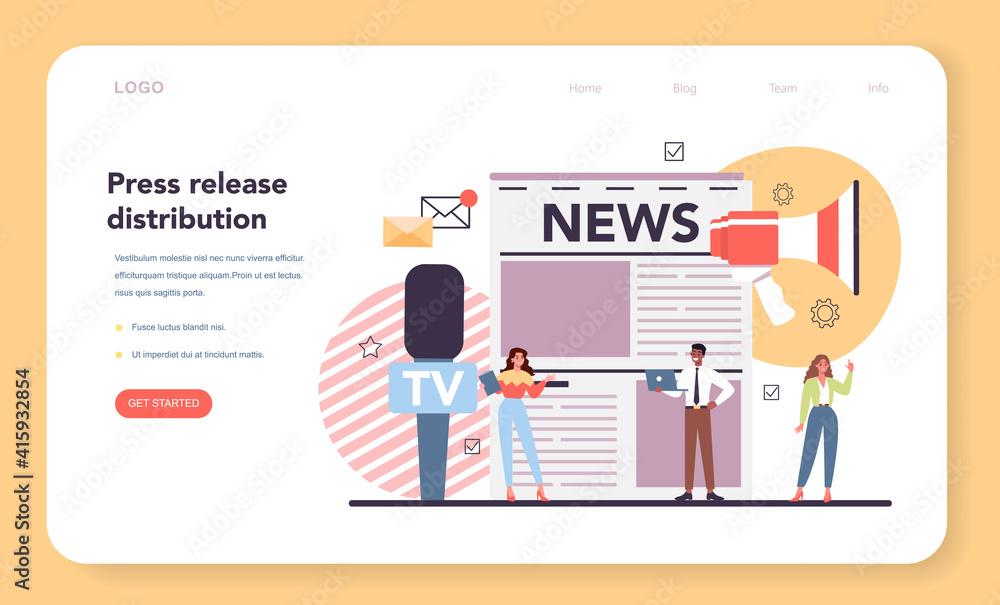 Fototapeta Press release web banner or landing page. Mass media