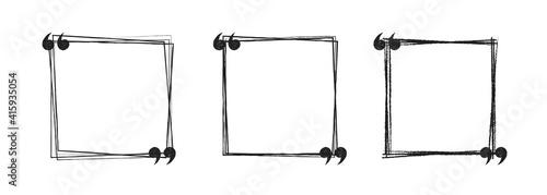 Slika na platnu doodle black and white hand drawn square sketch Speach bubbles