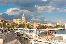 Croatia, Split. Riva And Diocletian's Palace Belltower Viewed From Fisherman's Port.