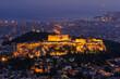 夕暮れのパルテノン神殿とアテネ市街