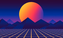 Abstract 80s Retrowave Futuristic Retrowave Design Sunset Background
