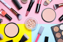 Different Luxury Makeup Products On Color Background, Flat Lay