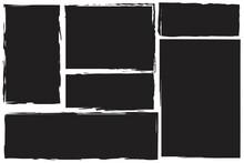 Black Grunge Rectangles. Grunge Texture. Vintage Pattern. Vector Design Banner. Stock Image. EPS 10.