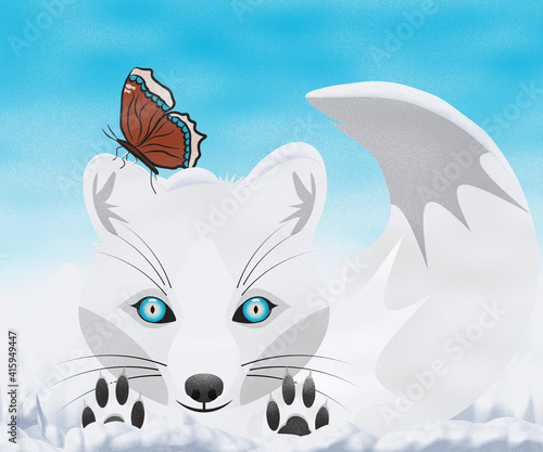 Fototapeta premium White Arctic Fox Playing in the Snow with a Mourning Cloak Butterfly