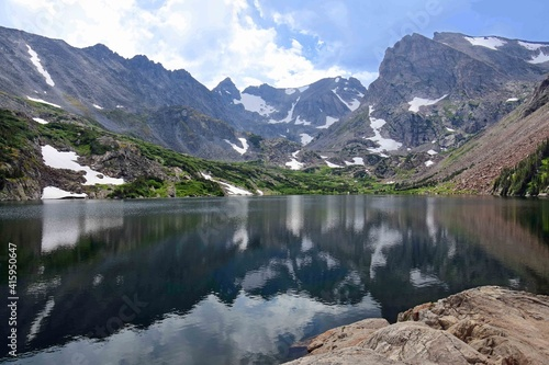 Fototapety, obrazy: magnificent arapahoe, navajo, and shoshoni peaks with a mountain stream and snowfield on a sunny summer day along the lake isabele trail in the indian peaks wilderness area near nederland, colorado