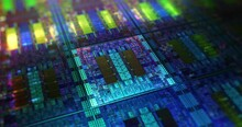 Futuristic Microchip Processors On Wafer With Data Neon Lights. Hardware Technology Concept, Computer Component Lights. 3D Rendering, 4K.
