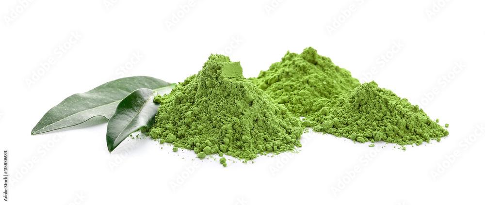 Fototapeta Powdered matcha tea on white background