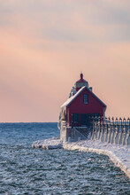 Grand Haven Lighthouse Sunset On Lake Michigan