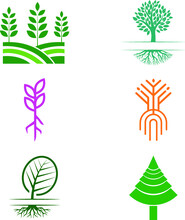 Random Color Flat And Modern Tree Logo Design