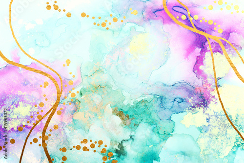 art photography of abstract fluid art painting with alcohol ink, blue, purple and gold colors © tomertu