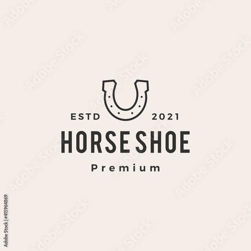 Fotografie, Tablou horse shoe hipster vintage logo vector icon illustration