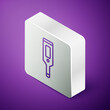 Isometric line Medical digital thermometer for medical examination icon isolated on purple background. Silver square button. Vector.