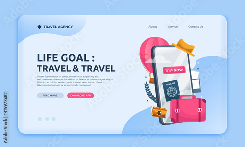 Fotografie, Obraz Landing page travel agency website template