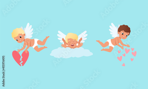 Foto Cute Baby Cherubs with Hearts, Cute Lovely Boys Cupid Characters in Different Ac