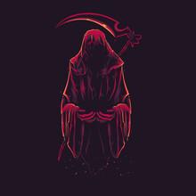 Detailed Grim Reaper Illustration And Tshirt Design
