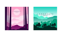 Beautiful Mountain Landscape At Morning And Evening, Peaceful Nature At Different Times Of Day Background, Banner, Poster, Cover Set Vector Illustration