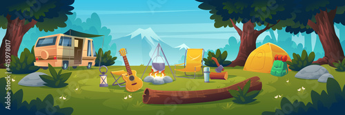 Fototapeta premium Summer camp at day time. Rv caravan stand at campfire with pot, tent, log, cauldron and guitar on mountain view. Summertime camping, traveling, trip, hiking activities, Cartoon vector illustration