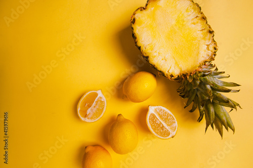 yellow-fruits-on-yellow-background-copy-space-pantone-2021-beautiful-juicy-colorful