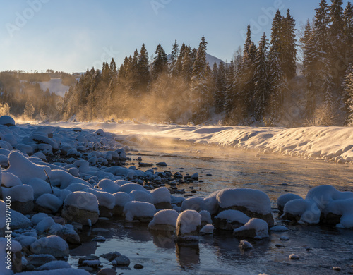 Alpine river on an extremely cold winter morning © Mike Mareen