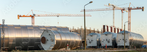 Tanks at the construction site of a polymer factory © Mike Mareen