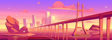 City Skyline With Buildings And Bridge Above Lake Or River At Sunset. Vector Cartoon Landscape Of Sea, Island With Town Skyscrapers On Horizon And Overpass Highway In Morning Pink Light