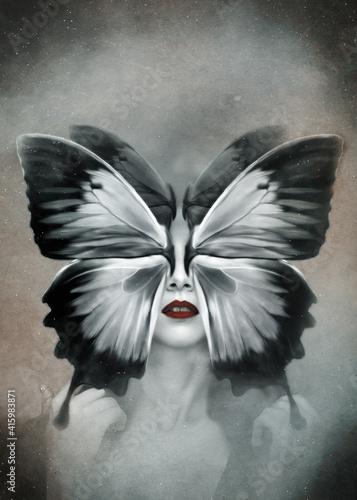Fototapeta Photo manipulation. Surreal concept butterfly woman. Dark art wallpaper. obraz