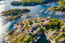 Aerial View Of Houses And  Marina At The Southern Norwegian Coast, East Of Kragero, Norway