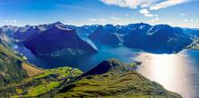 Panoramic Aerial View Of The Inner Hjoerundfjord, Norway
