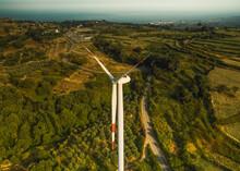 Aerial View Of A Modern Wind Farm On A Hillside, Palermiti, Calabria, Italy.