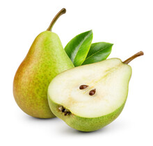 Pears Isolated. One And A Half Green Pear Fruit With Leaf On White Background. Pear Slice. With Clipping Path. Full Depth Of Field.
