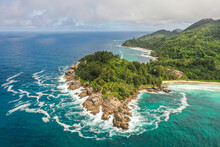 Aerial View Of The South Coast Of Mahé, Seychelles.