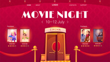 Movie Night Cartoon Landing Page, Invitation Advertisement To Cinema Festival, Show Entertainment Or Concert With Entrance To Hall And Film Posters On Red Wall With Glow Spotlights, Vector Web Banner