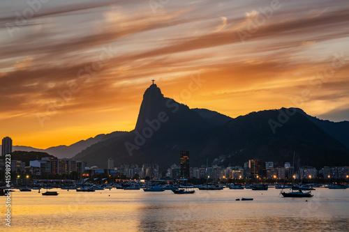 Beautiful panorama of Rio de Janeiro at sunset, Brazil.