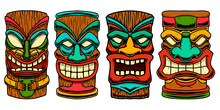 Set Of Illustration Of Tiki Idol. Design Element For Logo, Label, Sign, Poster. Vector Illustration