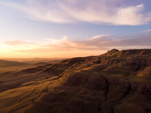 Aerial View Of Camel's Hump Sunrise In Northern Drakensberg, South Africa