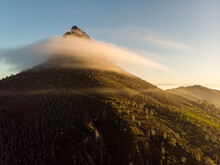 Aerial View Morning Lions Head With Mist Cape Town, South Africa