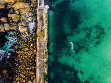 Aerial View Of Swimmers At Camps Bay Tidal Pool, Cape Town, South Africa
