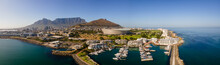 Panoramic Aerial View Of Foreshore Cape Town Stadium And Table Mountain In Summer From Atlantic Seaboard, Sea Point, Cape Town, South Africa