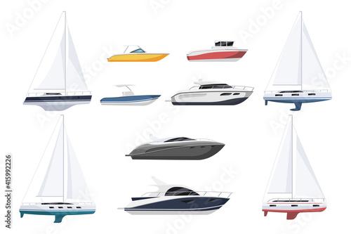 Obraz na plátně Speed motor boat, sail-boat and luxury yacht nautical vessel